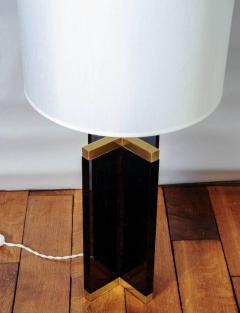 Pair of Cross Table Lamps in Dark Plexiglass and Brass - 714967