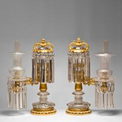 Pair of Crystal and Brass Argand Lamps - 57990
