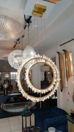 Pair of Crystal and bronze circles ceiling lights - 1114891