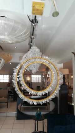 Pair of Crystal and bronze circles ceiling lights - 1114904