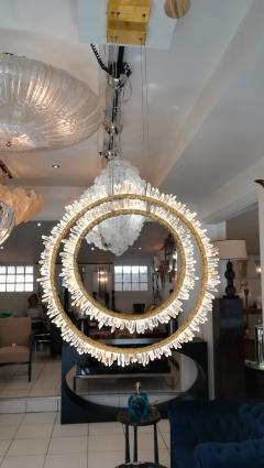 Pair of Crystal and bronze circles ceiling lights - 1114905