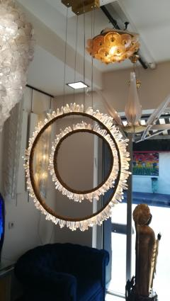Pair of Crystal and bronze circles ceiling lights - 1114906