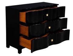 Pair of Curved Front Black Lacquered Chests Night Tables - 1800525