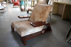 Pair of Custom 1970s Style Cowhide Armchairs - 925386