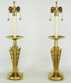 Pair of Custom Art Deco Inspired Brass Table Lamps - 82388