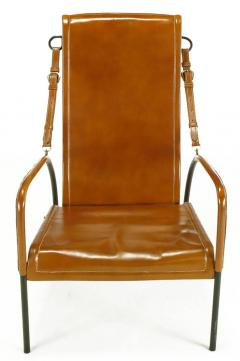 Pair Of Custom Leather And Wrought Iron Lounge Chairs After Jacques Adnet    82365