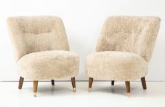 Pair of Danish Design Sheepskin Upholstered Chairs circa 1930s - 1122466