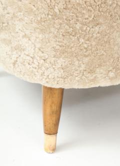 Pair of Danish Design Sheepskin Upholstered Chairs circa 1930s - 1122467