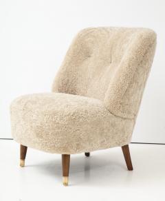 Pair of Danish Design Sheepskin Upholstered Chairs circa 1930s - 1122468