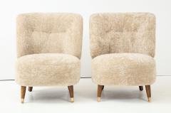 Pair of Danish Design Sheepskin Upholstered Chairs circa 1930s - 1122469