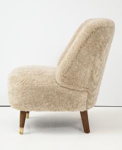 Pair of Danish Design Sheepskin Upholstered Chairs circa 1930s - 1122470