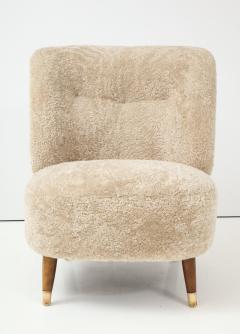 Pair of Danish Design Sheepskin Upholstered Chairs circa 1930s - 1122471