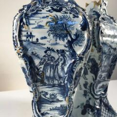 Pair of Delft Bottle Form Vases 18th Century - 341625