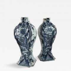 Pair of Delft Bottle Form Vases 18th Century - 345270