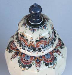 Pair of Delft Hand painted Covered Jars Signed by the artist P Verhoeve - 1235642