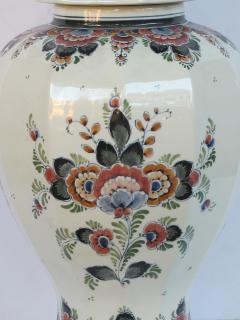 Pair of Delft Hand painted Covered Jars Signed by the artist P Verhoeve - 1235644