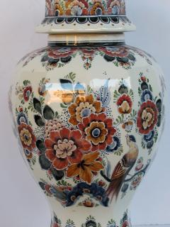 Pair of Delft Hand painted Covered Jars Signed by the artist P Verhoeve - 1235646