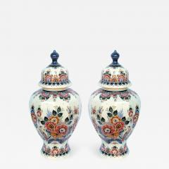 Pair of Delft Hand painted Covered Jars Signed by the artist P Verhoeve - 1236044