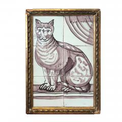 Pair of Delft Tile Pictures of Dog and Cat - 1515851
