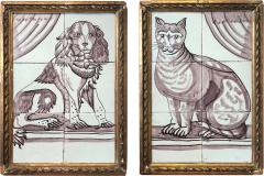 Pair of Delft Tile Pictures of Dog and Cat - 1518172