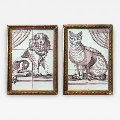 Pair of Delft Tile Pictures of Dog and Cat - 1518173
