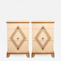 Pair of Directoire Style Painted Bedside Tables - 1100906