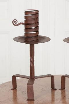 Pair of Dutch Wrought Iron Courting Candlesticks - 1225796
