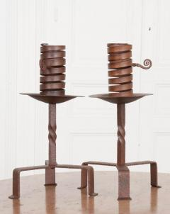 Pair of Dutch Wrought Iron Courting Candlesticks - 1225798