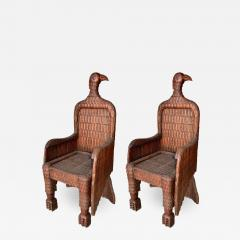 Pair Of Eagle Shaped Wooden Armchairs   531525