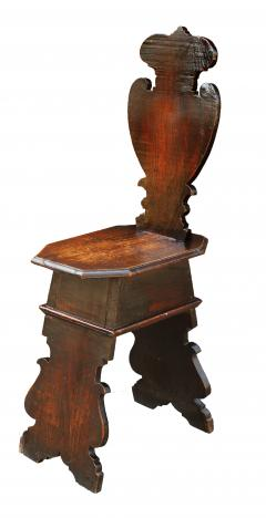 Pair of Early 18th Century Renaissance Style Sgabello Hall Chairs - 593736