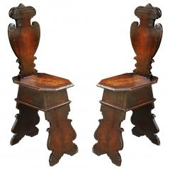 Pair of Early 18th Century Renaissance Style Sgabello Hall Chairs - 593737