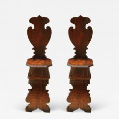 Pair of Early 18th Century Renaissance Style Sgabello Hall Chairs - 594374
