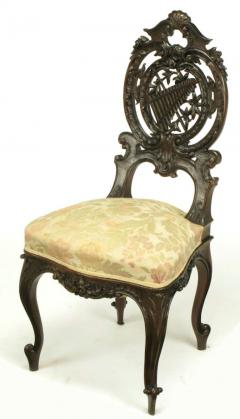 Pair of Early 1900s Hand Carved Walnut French Regency Music Chairs - 270250