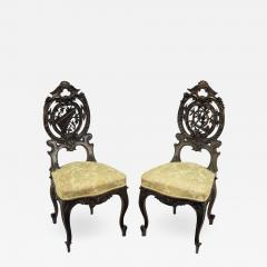 Pair of Early 1900s Hand Carved Walnut French Regency Music Chairs - 578253