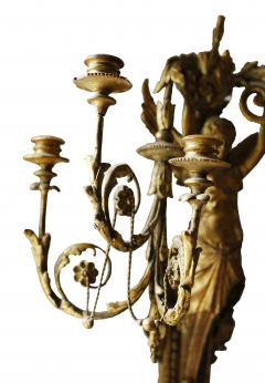 Pair of Early 19th Century Italian Neoclassical Gilt Figural Six Light Sconces - 547287