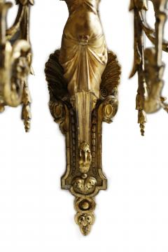 Pair of Early 19th Century Italian Neoclassical Gilt Figural Six Light Sconces - 547289