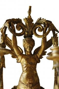 Pair of Early 19th Century Italian Neoclassical Gilt Figural Six Light Sconces - 547290