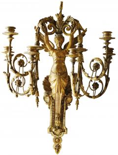 Pair of Early 19th Century Italian Neoclassical Gilt Figural Six Light Sconces - 547292