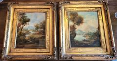 Pair of Early 20C Italian Oil on Board Landscapes by Nesi - 2121195