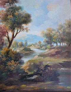 Pair of Early 20C Italian Oil on Board Landscapes by Nesi - 2121196