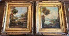 Pair of Early 20C Italian Oil on Board Landscapes by Nesi - 2121204