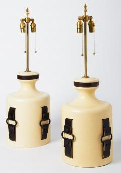 Pair of Earthenware and Leather Strap Lamps - 1072666