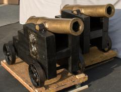 Pair of Egyptian Islamic Bronze Cannons French La Hitte Rifled Bore - 555808