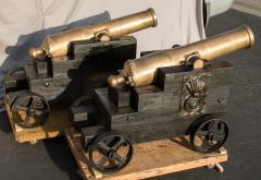 Pair of Egyptian Islamic Bronze Cannons French La Hitte Rifled Bore - 555810