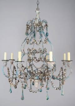 Pair of Eight Light Wood Beaded and Metal Painted Chandeliers - 568365