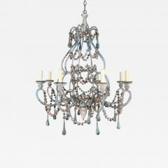 Pair of Eight Light Wood Beaded and Metal Painted Chandeliers - 571097