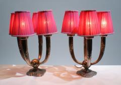 Pair of Elegant Art Deco Table Lamp Signed Limousin Maker - 1780562