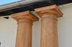 Pair of Elegant Tall Fluted Decorative Pine Columns - 916138