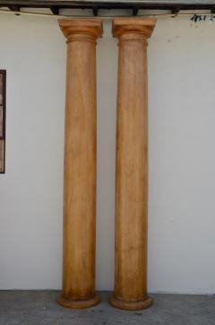 Pair of Elegant Tall Fluted Decorative Pine Columns - 916139