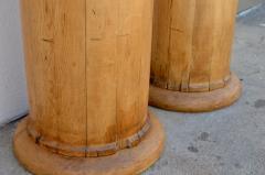 Pair of Elegant Tall Fluted Decorative Pine Columns - 916140